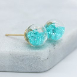 Wholesale Variety Beads - 2017 new design fashion brand jewelry Crushed zircon in a variety of cndy colors 10mm glass beads stud earrings for girls.