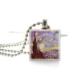 Pinturas de noite estrelado on-line-Nova Venda Quente Estilo Vintage Van Gogh Pinturas A Óleo Fotos Jogo de Scrabble Telha Jóias Starry Noite De Madeira Scrabble Telhas