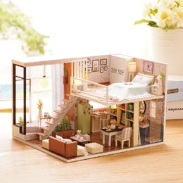 Wholesale Diy Assemble - Wholesale-New Furniture DIY Doll House Wooden Miniature Doll Houses Furniture Dust cover Kit Box Puzzle Assemble Dollhouse Toys For gift