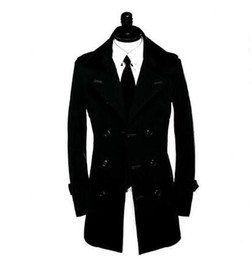 Wholesale men s belted trench coat - Wholesale- Spring fashion teenage business slim sexy trench coat men overcoat veste homme double breasted outerwear belt plus size S - 9XL