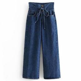 2019 pajarita jeans Mujeres vintage denim pantalones anchos de las piernas bolsillos bottons pajarita abierta decorar pantalones damas marca casual pantalones Feminino rebajas pajarita jeans