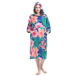 0d87311d98 Flowers Printing Changing Robe Bath Towel Fashion Outdoor Adult Hooded  Beach Towel Poncho Movemen Women Man Bathrobe Towels LST