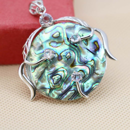 paua shell pendants Promo Codes - 42mm Natural Abalone seashells sea shell Round pendant paua Flower wisteria decorative making jewelry design Embroider diy gifts