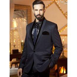 Wholesale italian wool men suit - Italian Designs Black Shawl Lapel Men Suit Slim Custom 2 Pieces Business Men Formal Party Prom Tuxedo (Jacket+Pants) L643