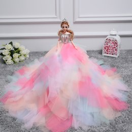 Wholesale 3d Real Dolls - 2018 latest 3D real eye Wedding Doll deluxe single 50 cm color super large Princess Birthday Gift
