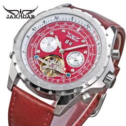 5466c587201 Relógios dos homens Marca Única Automático Auto-liquidação mostrador  analógico Calendário Pulseira De Couro De Cristal Relógios De Pulso JARAGAR
