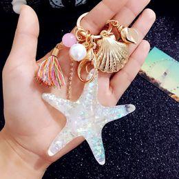 Wholesale Starfish Cartoon - Fancy&Fantasy 2018 New Cartoon Sea World Starfish Pearl Shell Keychain Key Chain KeyRing Crystal Pendant Keychain Women Gift
