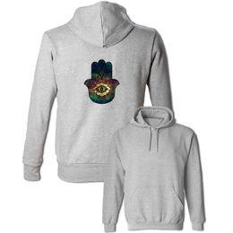 Wholesale Eye Print Sweatshirt - Spiritual Hand Evil Eye Print Hoodie Men's Women's Boy's Girl's Sweatshirt Punk Style Hooded Tops Cotton Outwear Fashion Coat