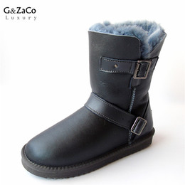Wholesale Wool W - G&Zaco Luxury Winter Sheeoskin Fur Boots Natural Wool Knight Boots Sheep Fur Women Genuine Leather Female Mid Calf Buckle