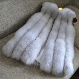 Exquisito Faux Fox Fur Mujeres Chaleco Fake Abrigos de Piel Lujo Faux Fur Gilet F0378 Negro Gris Blanco S-2XL desde fabricantes