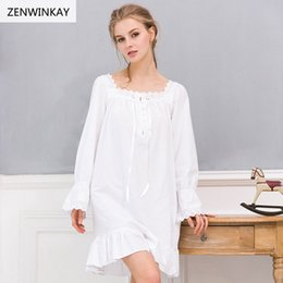 2017 Spring Summer White Nightdress Cotton Nighties for Women Sleepwear  Cotton Dress Long Sleeve Cotton Nightgown Big Plus 8ba1184f9