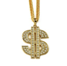 Wholesale Sign Accessories - Golden Bling Big Dollar $ Sign necklaces Hip Hop Jewelry Gifts Chains Men Women Charm Crystal Money pendants