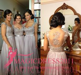 Wholesale Bridesmaid Discount - 2018 Silver chiffon lace Custom made 2014 New Big Discount cap sleeve long Bridesmaid Dresses formal dresses with ribbon