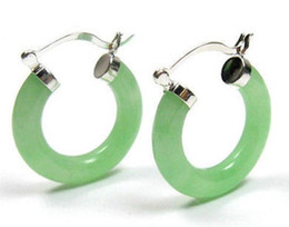 Wholesale light green jade jewelry - Jewelry Natural light Green Jade silver Click Hoop Earrings