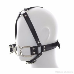 Wholesale Oral Gag Harness - Leather Strap Head Harness Spider O Ring Gag Restraint Adult Slave Fetish Kinky SM Forced Oral Sex Toy Sex Products