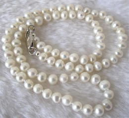 """weiße perlenhalskette entwirft gold Rabatt Long 30"""" 8-9mm Real Natural White Akoya Cultured Pearl Jewelry Necklace"""