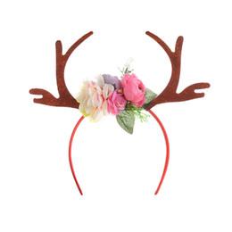 orelhas de rena Desconto 4 pçs / lote mulheres meninas rena chifres de veado cabelo da orelha de argola com flor partido acessórios de cabelo natal decoração diy natal headband