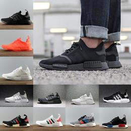 Wholesale Green Outdoor Lights - Hot Sale 2018 mens Running Shoes R1 Again Monochrome Primeknit PK For Men Women Triple Black White Red grey Runner R1 Fashion Sneakers