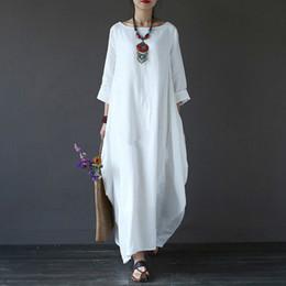 2018 Summer Shirt Dress manica lunga donna Plus Size 4xl 5xl Lino in cotone  sciolto Dress O-collo Bianco Boho Maxi Robe dd4c1146d62
