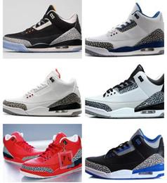Wholesale Orange Black Powder - New Cheap 3 3s trainers basketball shoes Tennis wolf grey sport blue Black Cement White True Blue Dark Powder Blue Sport sneaker boots