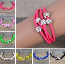 Wholesale multi color leather bracelets - Magnetic Crystal Buckle Charm Bracelet 4 Drill Ball Multi Layered Woven Leather Bangle For Women Fashion Jewelry New Accessories Mixed color