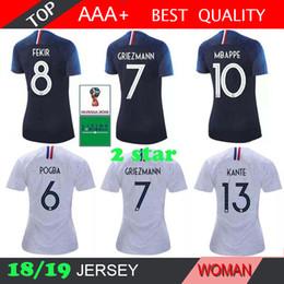 2 estrellas Mbappe 2018 camisetas de fútbol mujer POGBA GRIEZMANN PAYET  KANTE Camisetas de fútbol 18 19 hogar lejos CAMISETA 597d6171bd433