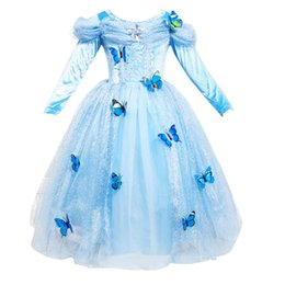 Wholesale Tutu Puff - Students Christmas gift Girls dress Cosplay Princess dresses Long sleeve Butterfly Party birthday gifts Puff sleeve blue Winter B11
