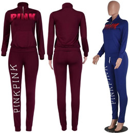 Wholesale Women Printed Leggings - PINK Letter Women Sports Suits Pants Shirts Running Half-zip Pullover Trousers Sets Print Sweater Tops Outerwear Coats Leggings S-XXL