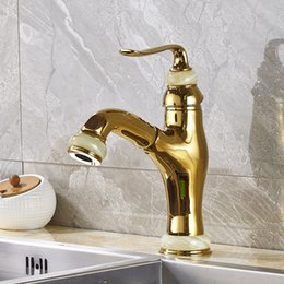 Wholesale Gold Sink Mixer - Wholesale and Retail Kitchen Sink Faucet Solid Brass Pull Out Swivel Spout Mixer Tap Gold Color