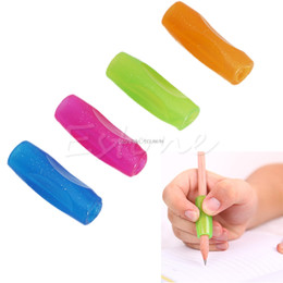 Lápiz lápiz de goma online-Herramienta de la caligrafía de la práctica del apretón del lápiz de la pluma de goma Orthotics Topper