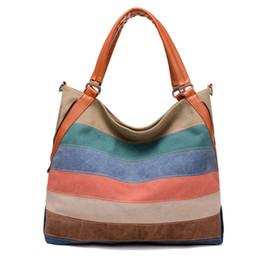 Handtasche farbblock online-Damen Canvas Leder Schulter Handtasche Farbe Block Gestreift Große Kapazität Umhängetasche Vintage Style Messenger Tasche