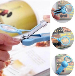 Wholesale kids clipper - Nail Clippers With Magnifying glass Fingernail Plier Baby Care Scissors Kids Pocket Finger Toe Nail EEA419 100PCS
