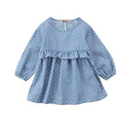 Wholesale Infant Girl Denim Dresses - Casual Infant Toddler Baby Girls Kids Denim Cotton Jeans Mini Tutu Tulle Dress Princess Party Polka Dot Ruffles Dresses Sundress
