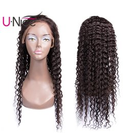 Wholesale natural afro hairstyles - UNice Hair Peruvian Human Hair Lace Front Wigs For Women Brazilian Afro Kinky Curly Wig Pre Plucked Lace Front Wigs Bleached Knots Wholesale