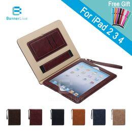 Wholesale Ipad2 Covers - Luxury PU Leather Case for iPad 2 3 4 Retro Briefcase Auto Wake Up Sleep Hand Belt Holder Stand Bags Cover for iPad2 iPad3 iPad4