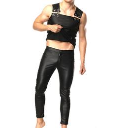 Colección de ropa online-Juegos de hombre de cuero de la PU Ropa masculina de alta calidad (pantalones + Tank top) para el desgaste de la etapa Colección de Club Fetish Juegos de fitness delgado