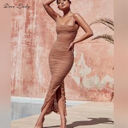 vestido de organza maxi Desconto Vestido de verão Mulheres Longo Clube Elegante Bodycon Maxi Vestido de Fenda Cinta Sexy Malha Organza Vestido Marrom Para Noite Do Partido
