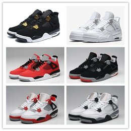 Wholesale Red Khaki - 2017 Air Retro 4 Pure Money Basketball Shoes Mens 4s BRED Royalty White Cement Sports Sneakers Motorsport Outdoor Sports Sneakers With Box