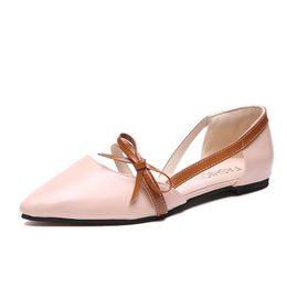 Cuero de las mujeres embarazadas online-Zapatos planos de las mujeres pajarita de cuero de la PU zapatos casuales de moda para mujer Ballet suave de las mujeres embarazadas pisos mocasines zapatos solos
