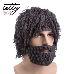 skull cap beard Coupons - IOTTG Funny Party Beanies Wig Beard Hats Hobo Mad Scientist Caveman Handmade Knit Warm Winter Caps Men Women Halloween Gifts