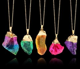 Wholesale Wholesale Raw Gold - 2018 New Druzy Quartz Natural Stone Irregular Geode Gold Color Raw nyx Stone Pendant Necklace Chain For Women Quartz Necklace Jewelry Gift