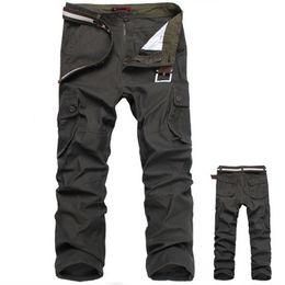pantalones cargo marrón Rebajas Pantalones de carga de hombres Pantalón de ejército 100% algodón Caqui / Verde / Marrón / Negro Pantalones largos de gran tamaño 30-44 hombres