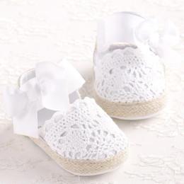 Wholesale dancing ballerina shoes - ROMIRUS Baby Girl Newborn Shoes Spring Summer Sweet Very Light Mary Jane Big Bow Knitted Dance Ballerina Dress Pram Crib Shoe