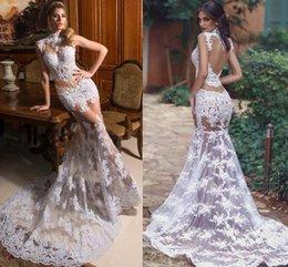 dc9444627f4 weiße sommerkleider Rabatt Sexy White Mermaid Spitze Abendkleider High Neck  Illusion Saudi Arabisch Lange Prom Kleider