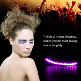 Wholesale Ear Stickers - Waterproof Halloween Club Bar Flash LED Luminous Strips Ear Hook Eyelashes Makeup Light Sticker For Party Costume For Funny