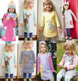 Wholesale Briefs Pattern - Girls cartoon animal pattern dress children striped dress Baby Kids Clothing Winter long sleeve dresses Boutique girl clothes 1830