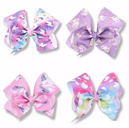 love hair Coupons - 10pcs Girls Jojo Unicorn 8 inch hair Bows Alligator Clips big Paint Love ombre rainbow bowknot hairpins headwear bobbles Accessories HD3514