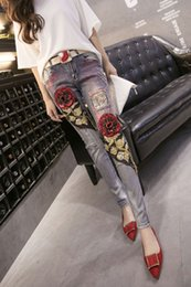 Джинсы с блестками онлайн-Ladies Denim Pants Womens Ripped Vintage Rose Sequined Style Skinny Jeans Female Boyfriend Jeans Distressed Stretch Jeans Size 26-30