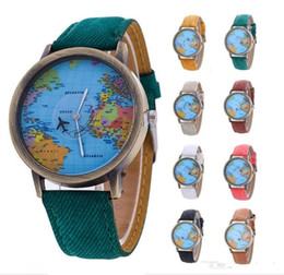 Wholesale World Map Wrist Watch - Wholesale New women leather world map watch fashion plane printing ladies cowboy dress quartz wrist watches for women ladies
