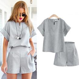 Disfraz de mujer de oficina online-2018 estilo del verano de las mujeres camisa de algodón ocasional de lino camisa femenina del color puro traje de la oficina conjunto trajes de las mujeres conjuntos cortos calientes